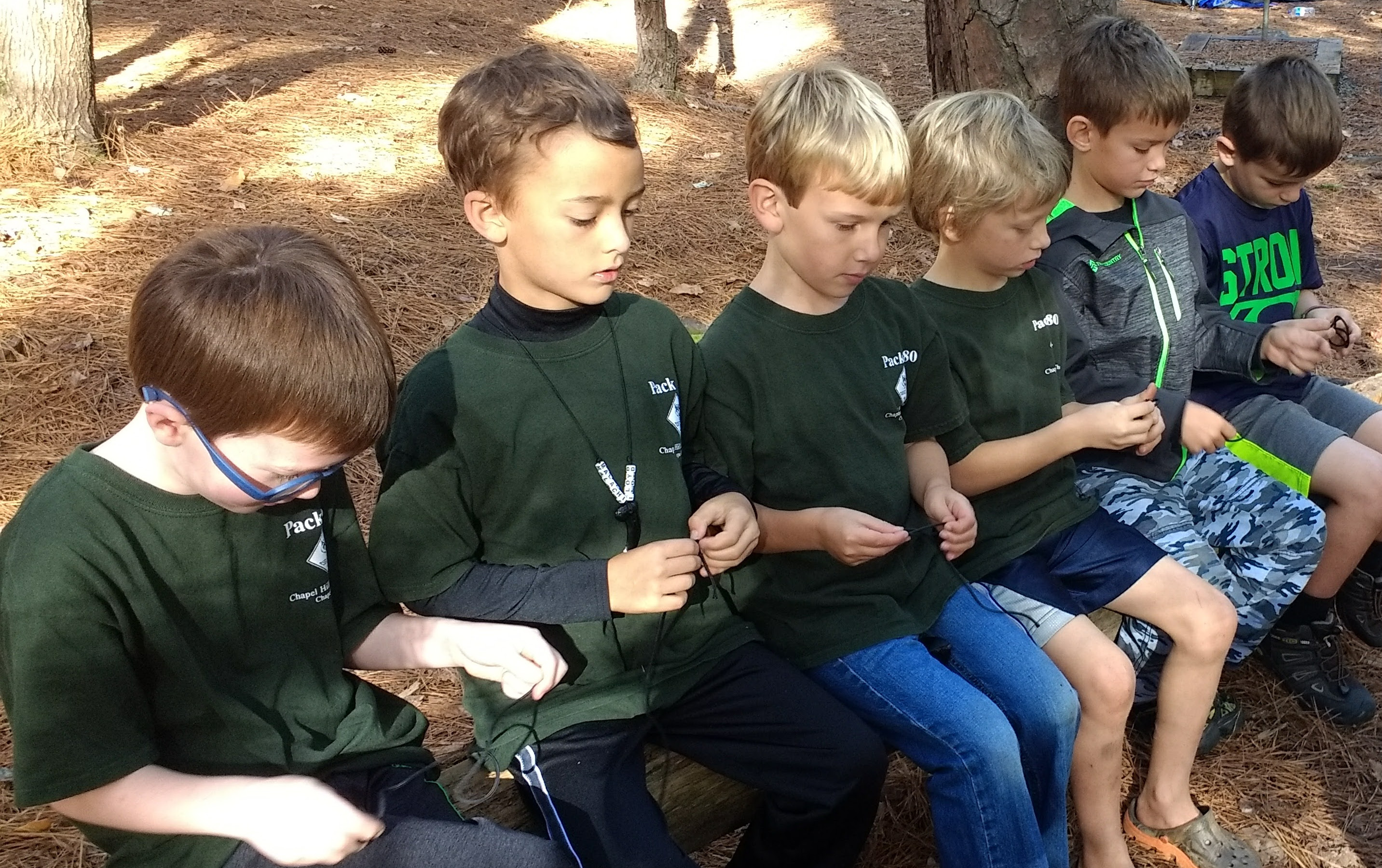 scouts practicing knots